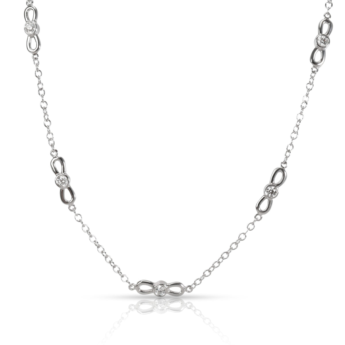 Tiffany & Co. Winged Station Diamond Necklace in 18K White Gold 0.7 CTW