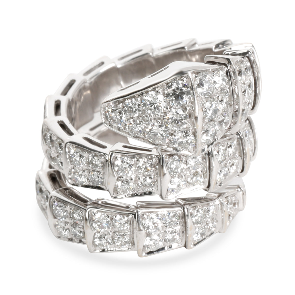 Bulgari Serpenti Diamond Ring in 18K White Gold 4 CTW
