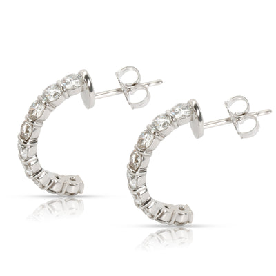 Diamond Half Hoop Earring in 14K White Gold 2.00 CTW