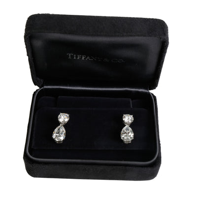 GIA Certified Tiffany & Co. Diamond Teardrop Earrings in Platinum (6.69 CTW)