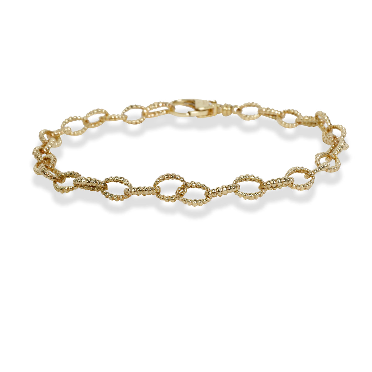 Lagos Caviar Collection Fluted Oval Link Bracelet in 18K Yellow Gold