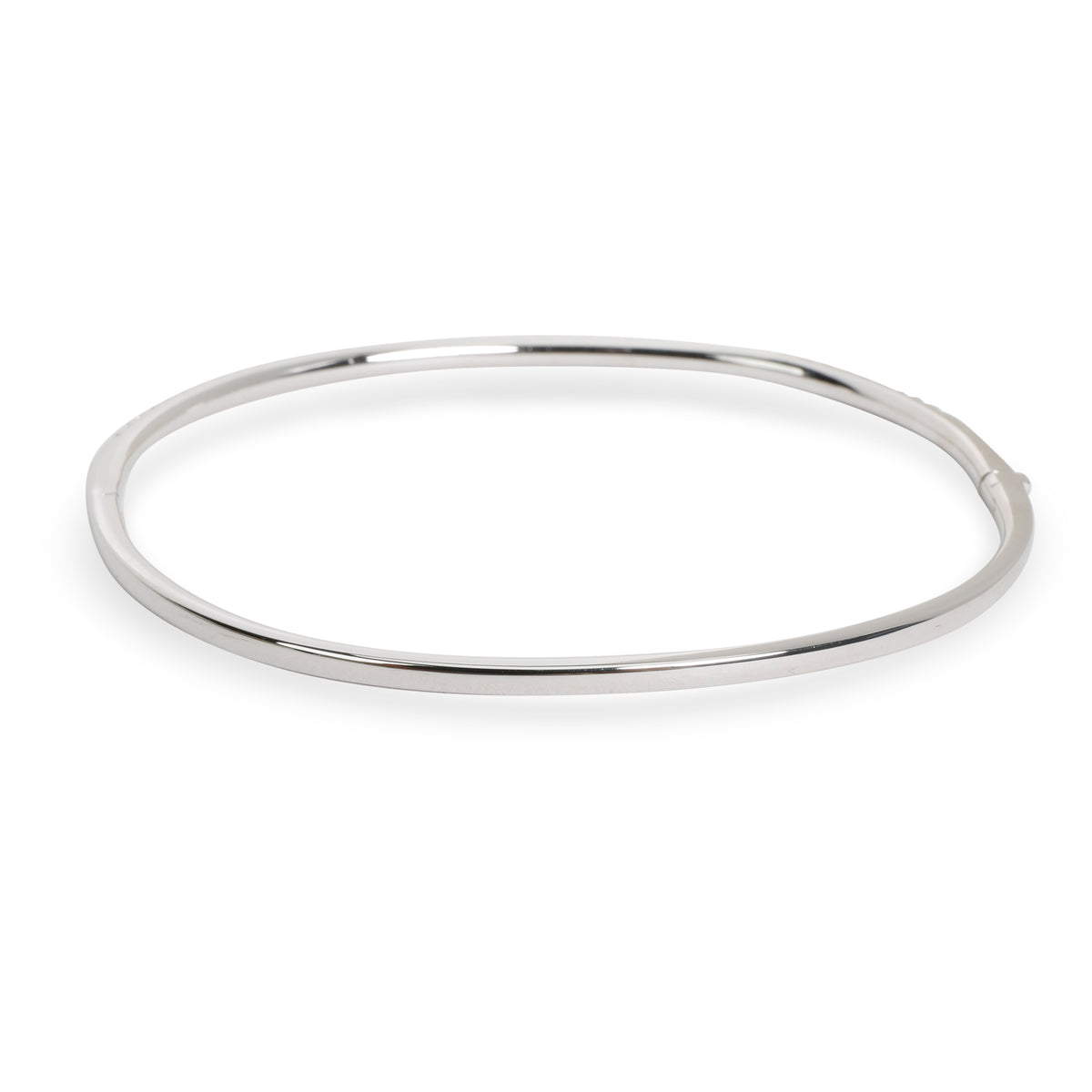 Nicole Rose Halfway Diamond Oval Bangle in 18K White Gold 0.75 CTW