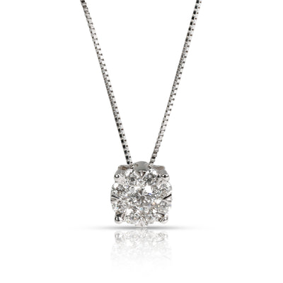 Cluster Diamond Pendant Necklace in 14K White Gold 0.75 CTW
