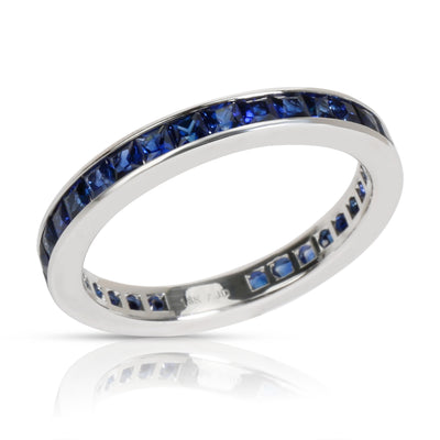 Stackable Princess Cut Sapphire Eternity Band in 18K White Gold
