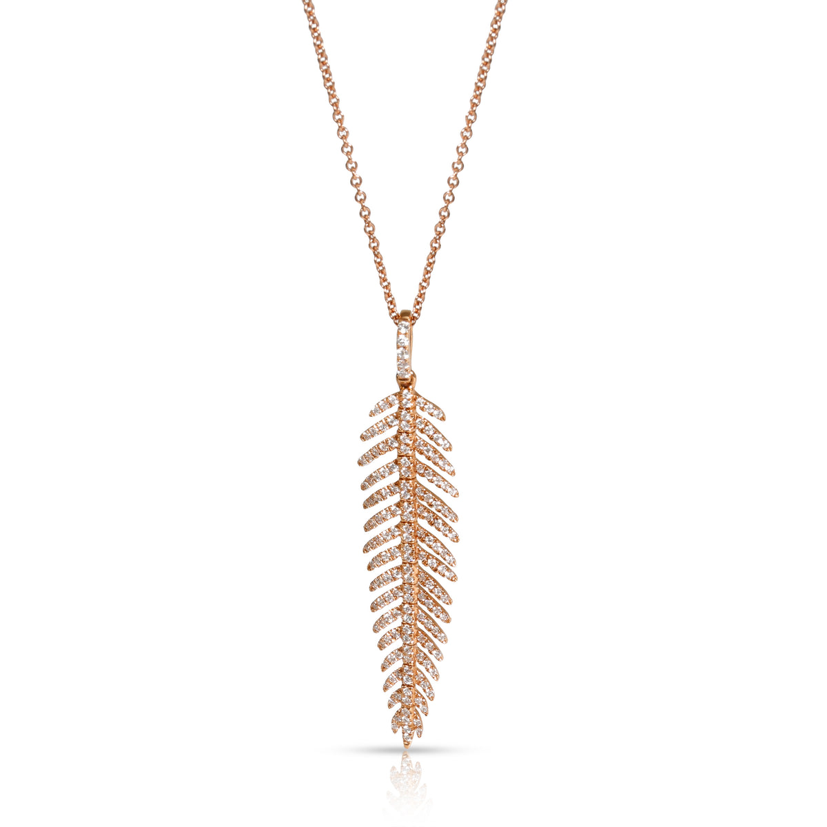 Nicole Rose Articulated Feather Diamond Necklace in 18K Rose Gold 0.44 CTW