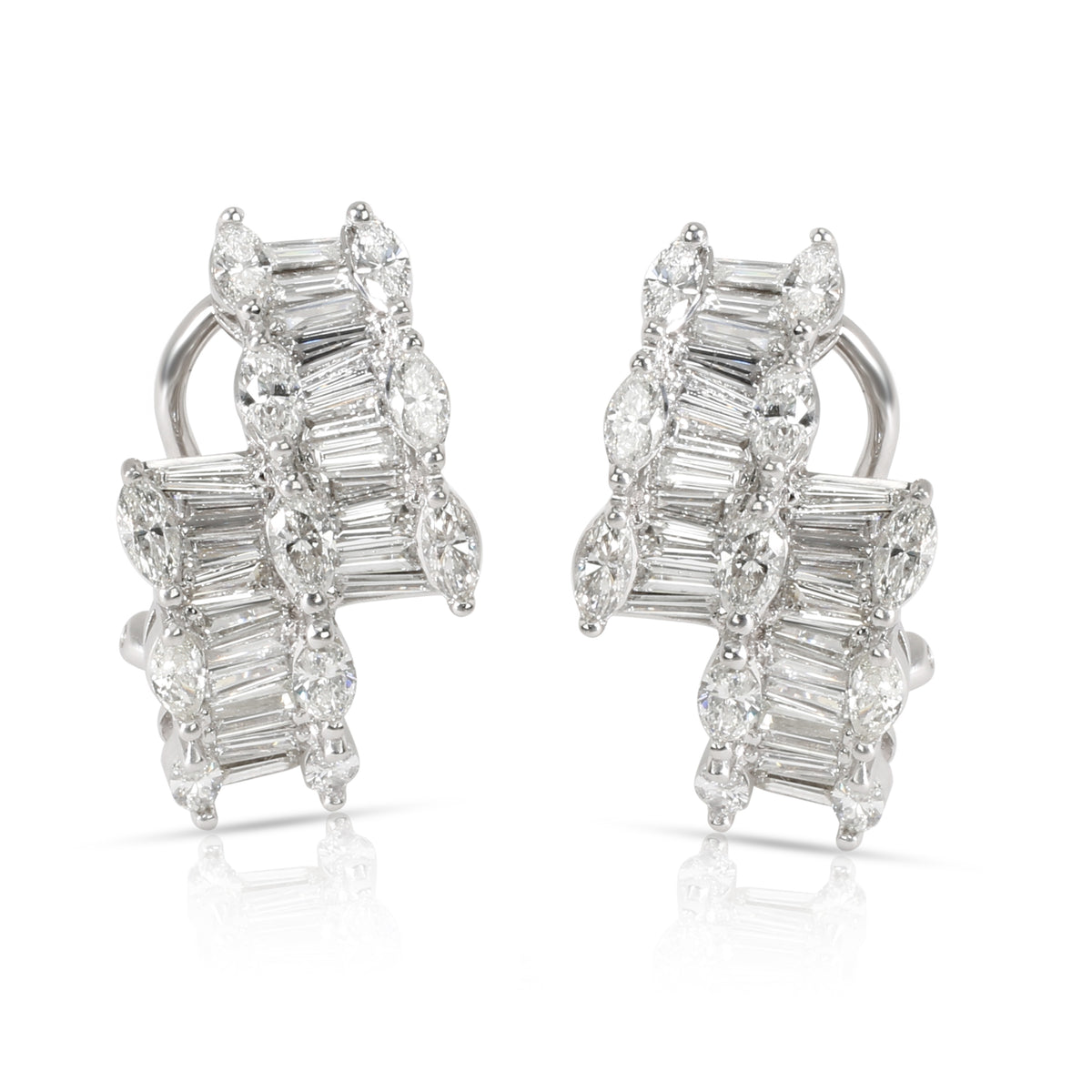 Marquise & Baguette Diamond Fashion Earrings 10K White gold 3.30 ctw