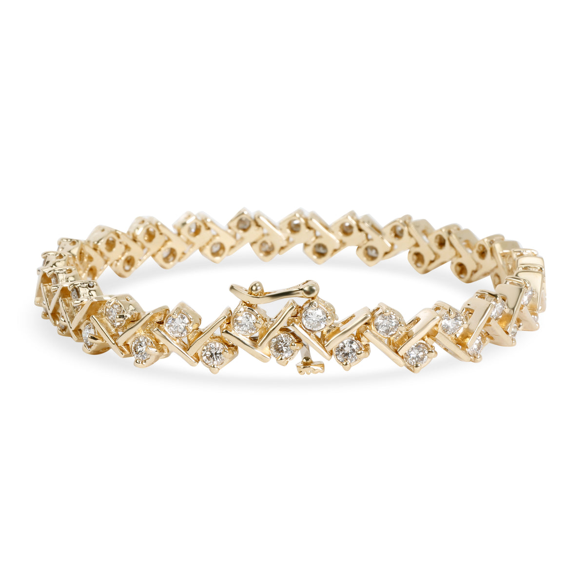Diamond Tennis Bar Bracelet in 14K Yellow Gold 2.76 CTW