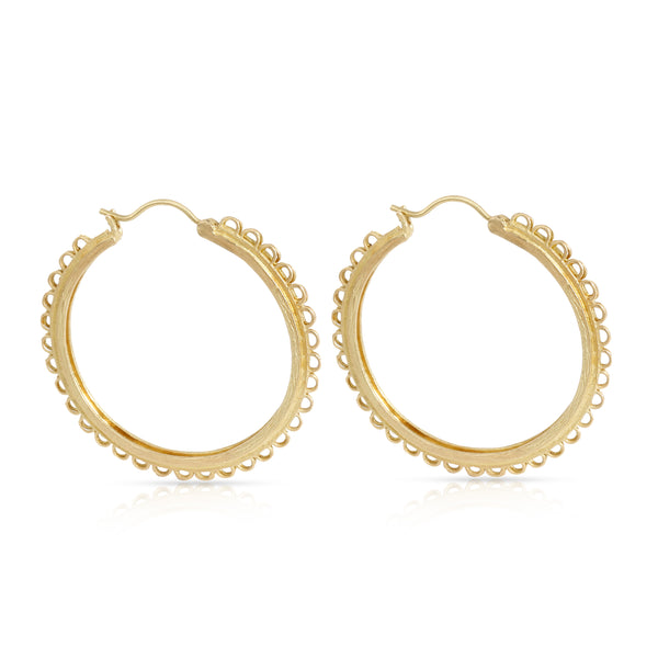 Anthony Nak Lace-Edged Hoop Earrings in 18K Yellow Gold
