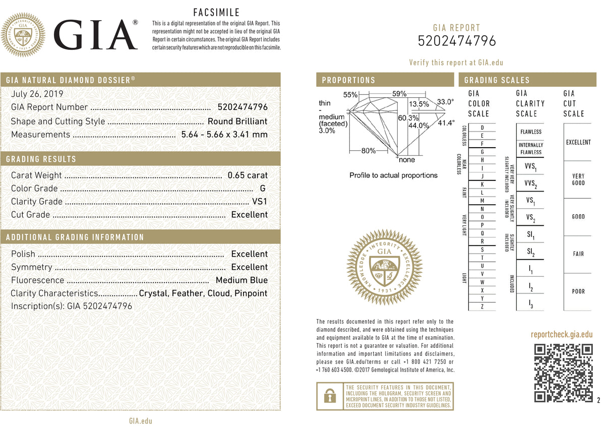 GIA Certified 0.65 Ct Round cut G VS1 Loose Diamond