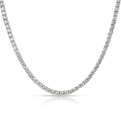 Round Cut Diamond Tennis Necklace in 18K White Gold 4.56 CTW