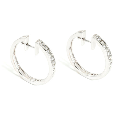 Channel Set Round Cut Diamond Hoop Earring in 18K White Gold 1.29 CTW
