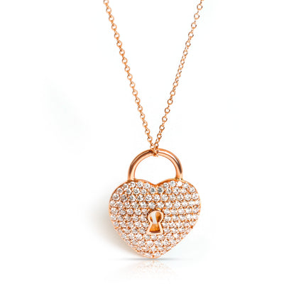 Tiffany & Co. Heart Lock Diamond Pendant in 18K Rose Gold 1.06 CTW