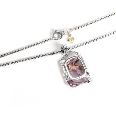 David Yurman Cable Wrap Amethyst Diamond Pendant in  Sterling Silver 0.20 CTW