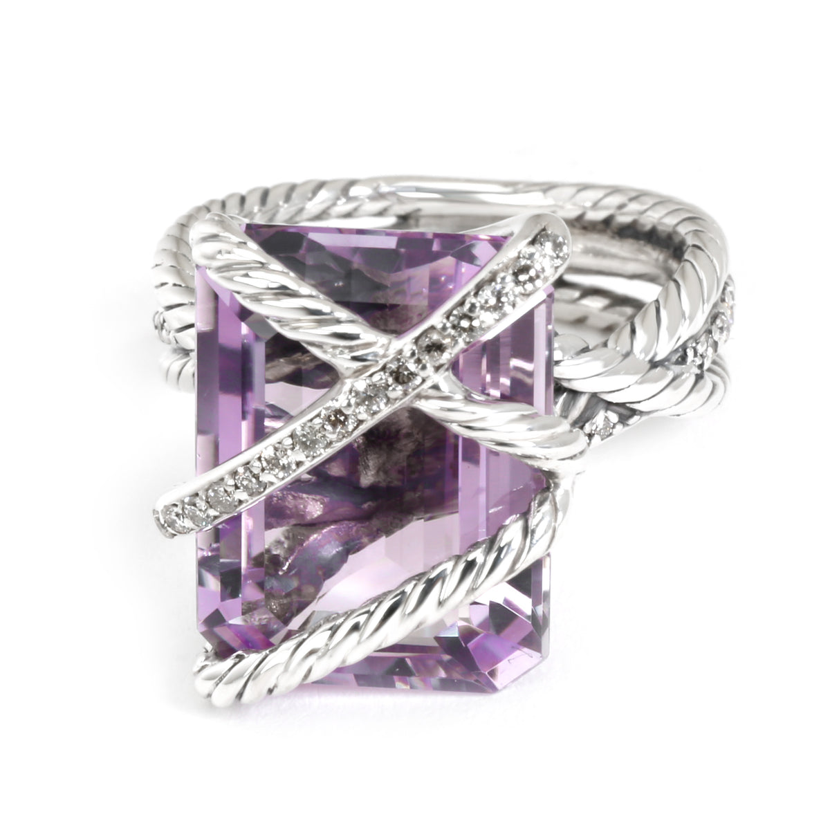 David Yurman Cable Wrap Diamond & Amethyst Ring in  Sterling Silver 0.2 CTW