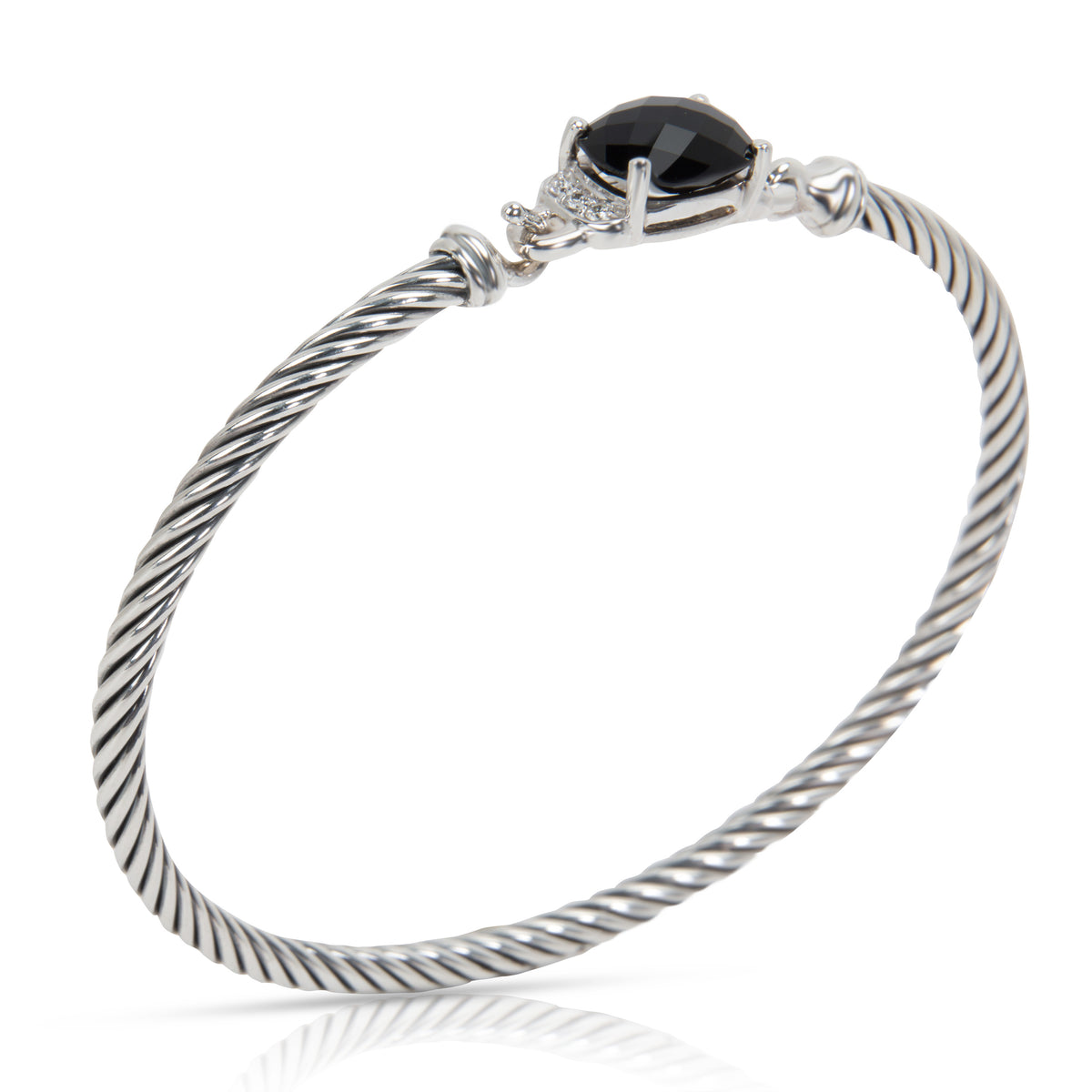 David Yurman Onyx & Diamond Cable Bangle in Sterling Silver (0.06 CTW)