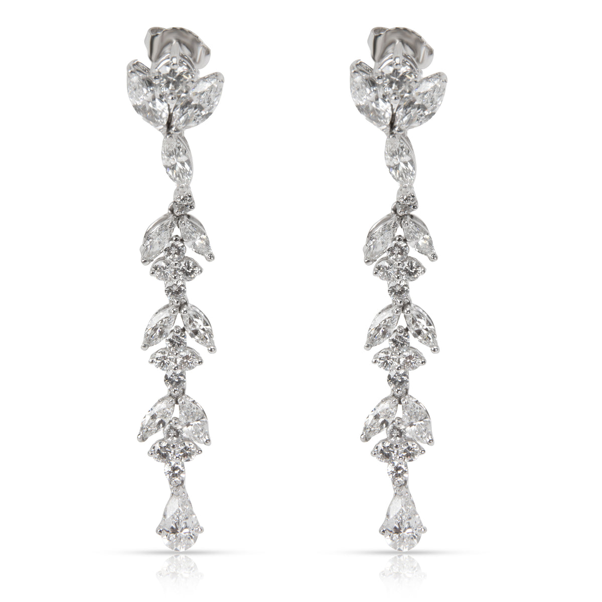 Marquise, Pear & Round Diamond Drop Earrings in Platinum (4.64 CTW)