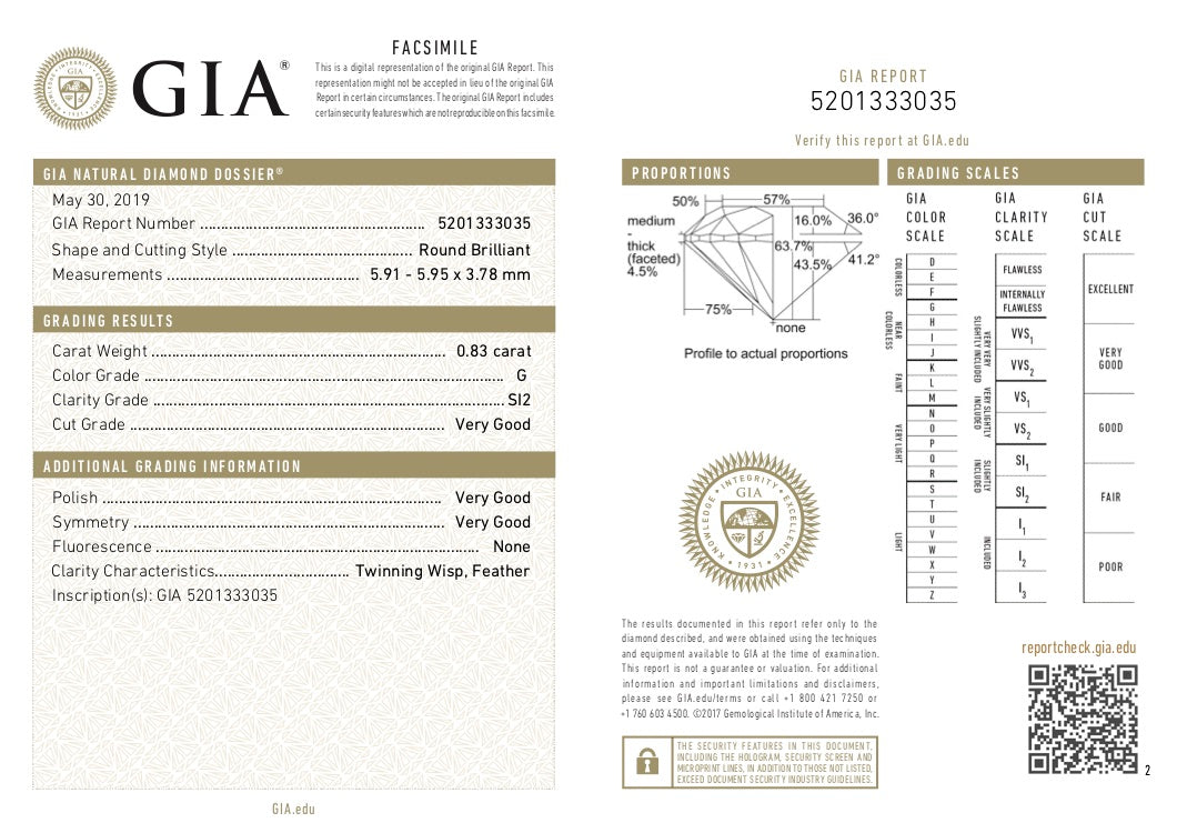 GIA Certified Round cut, G color, SI2 clarity, 0.83 Ct Loose Diamonds
