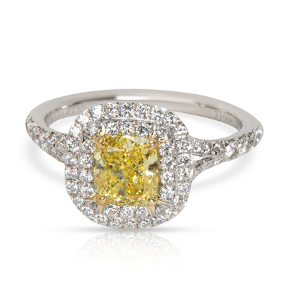 Tiffany & Co. Fancy Yellow Halo Diamond Engagement Ring in Platinum 1.05 CTW