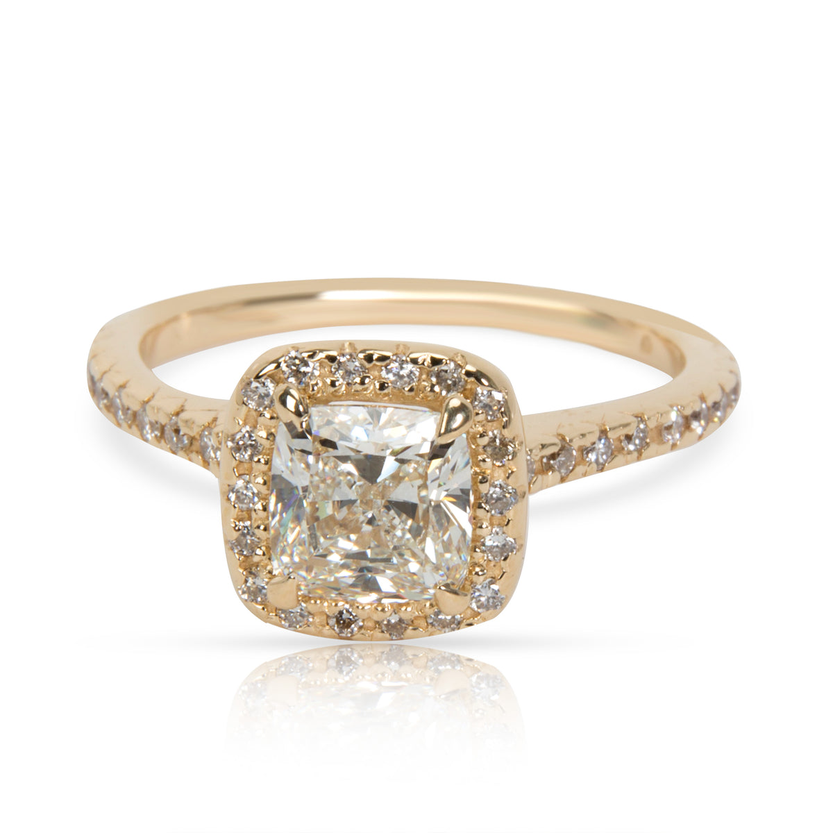 Halo Diamond Engagement Ring in 14K Yellow Gold I VS2 1.22 CTW