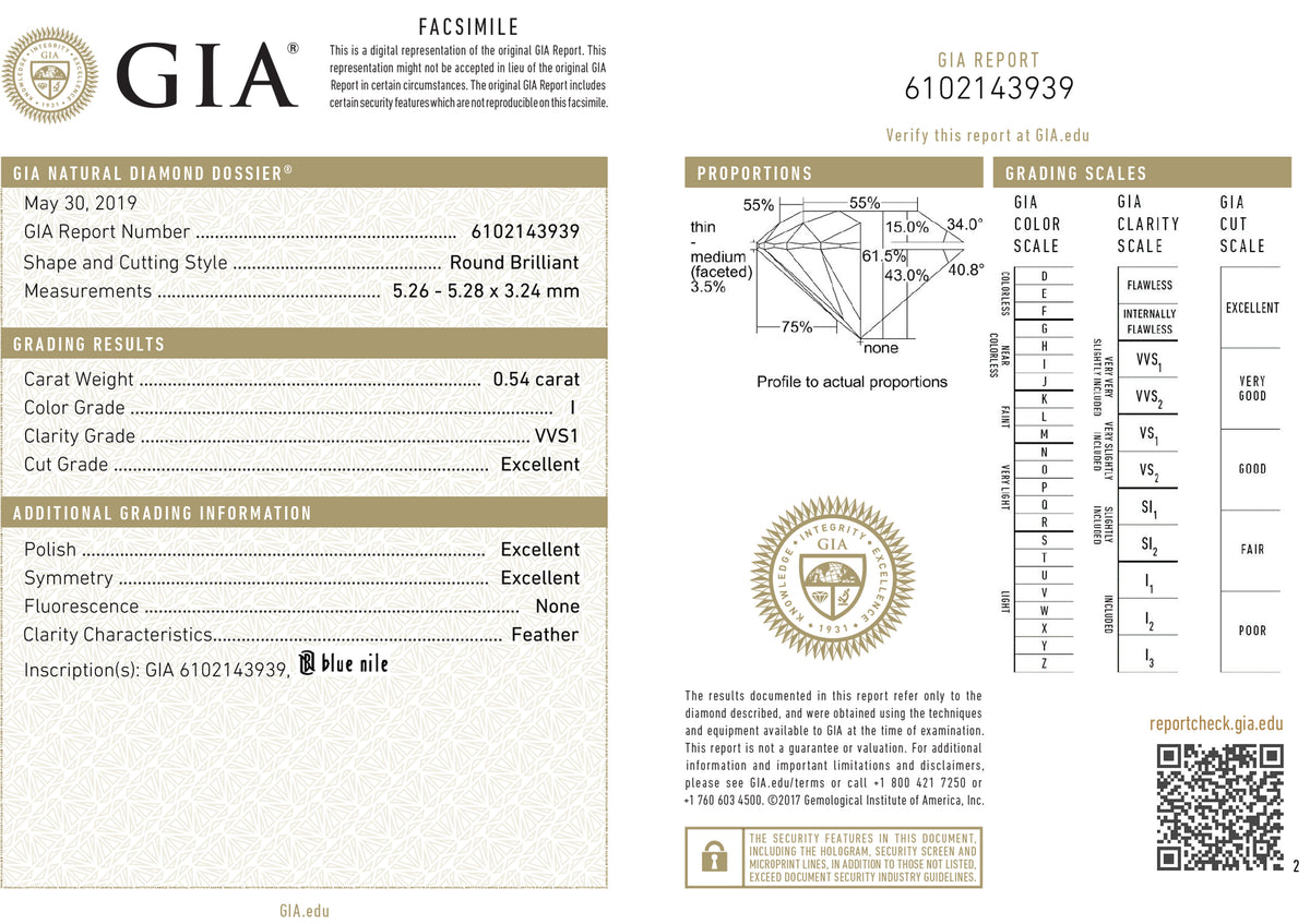 GIA Certified 0.54 Ct Round cut I VVS1 Loose Diamond