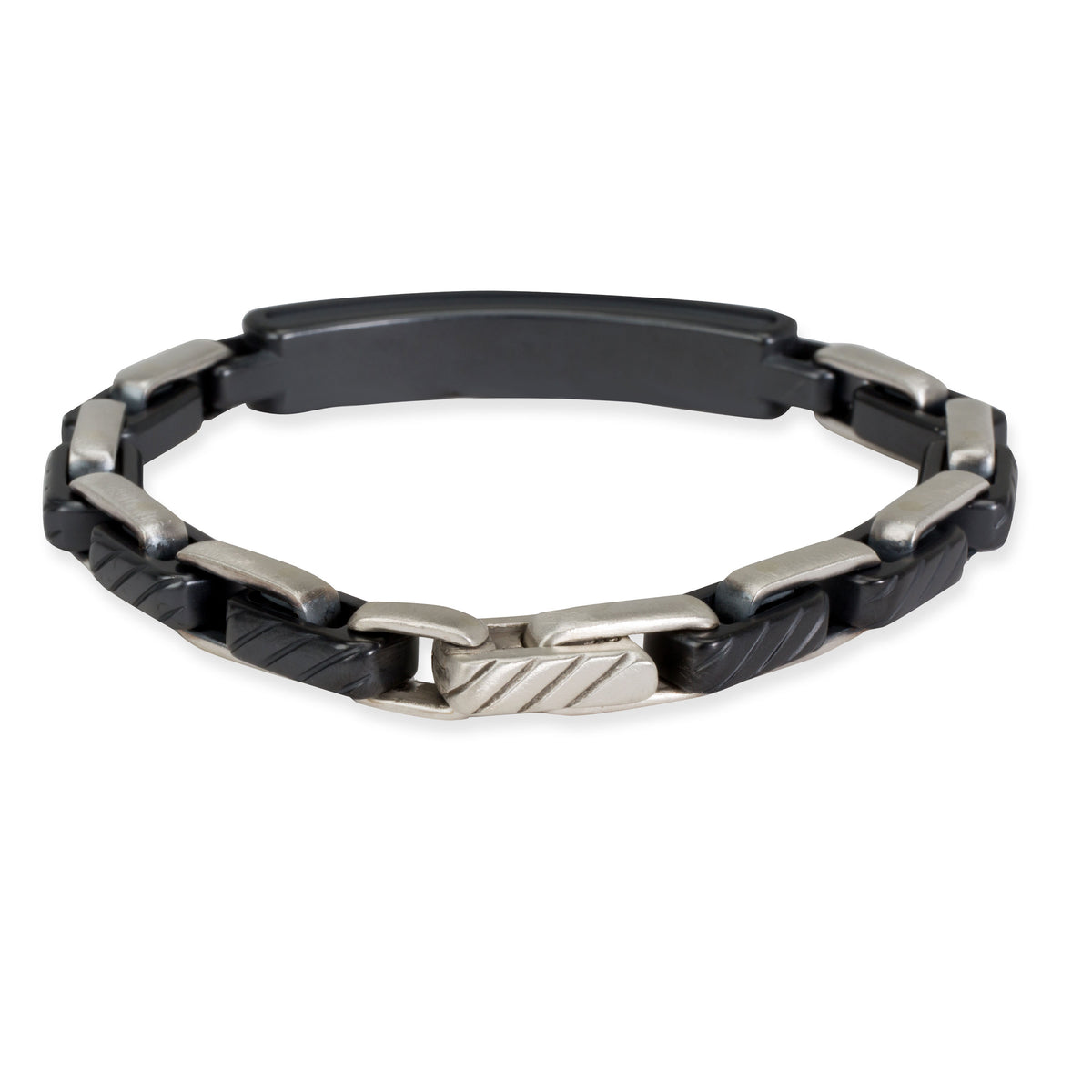 David Yurman Black Diamond ID Bracelet in  Sterling Silver/Titanium 2 CTW