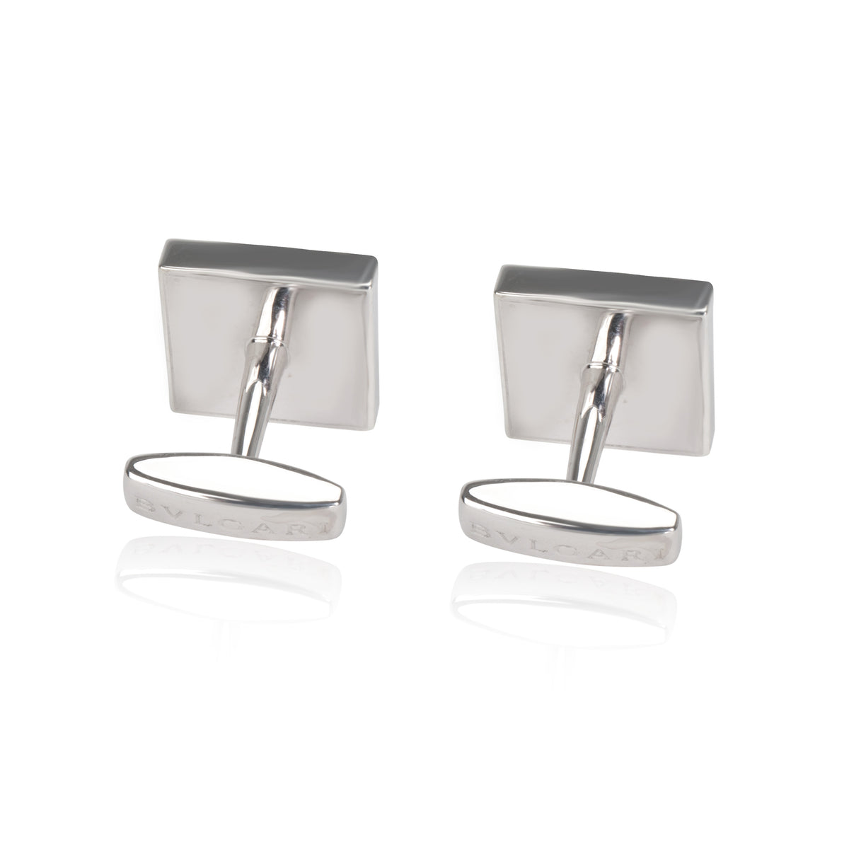 Bulgari Quadrato Cufflinks with Blue Enamel in Sterling Silver