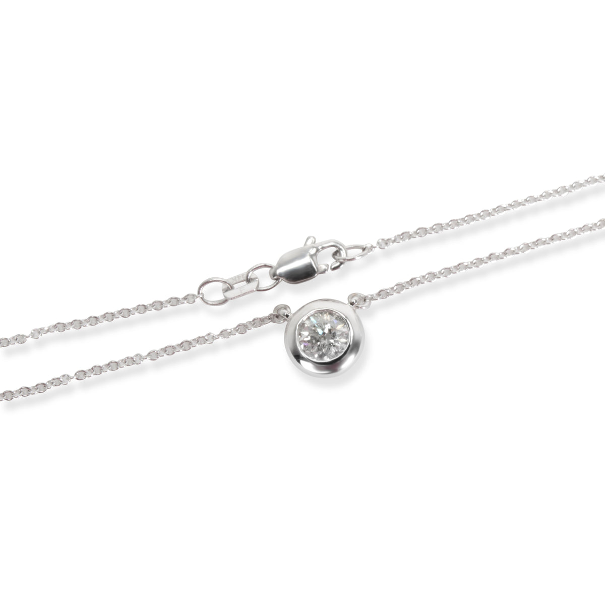 Diamond Bezel Set Solitaire Necklace in 14K White Gold I I2 (0.50 ct)