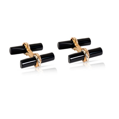 1960's Cartier Daily Mood Onyx & Crystal Interchangeable Cufflinks in 18K Gold
