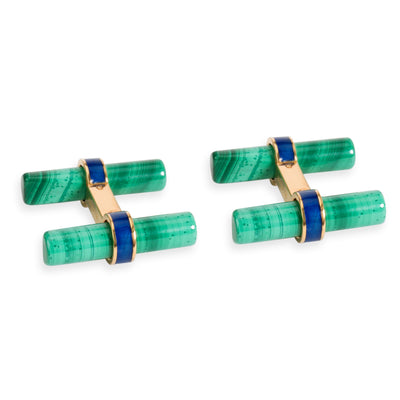 Cartier Malachite & Lapis Lazuli Cufflinks in 18K Yellow Gold