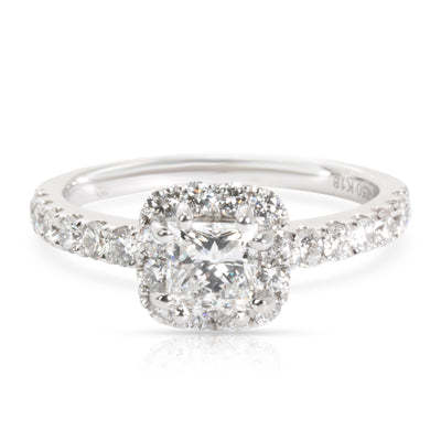 Halo Princess Diamond Engagement Ring in 18k White Gold 1.22 CTW