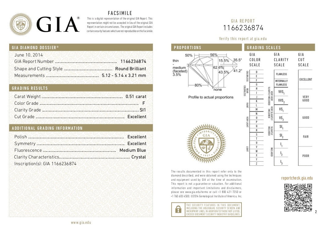 GIA Certified Round cut, F color, SI1 clarity, 0.51 Ct Loose Diamonds