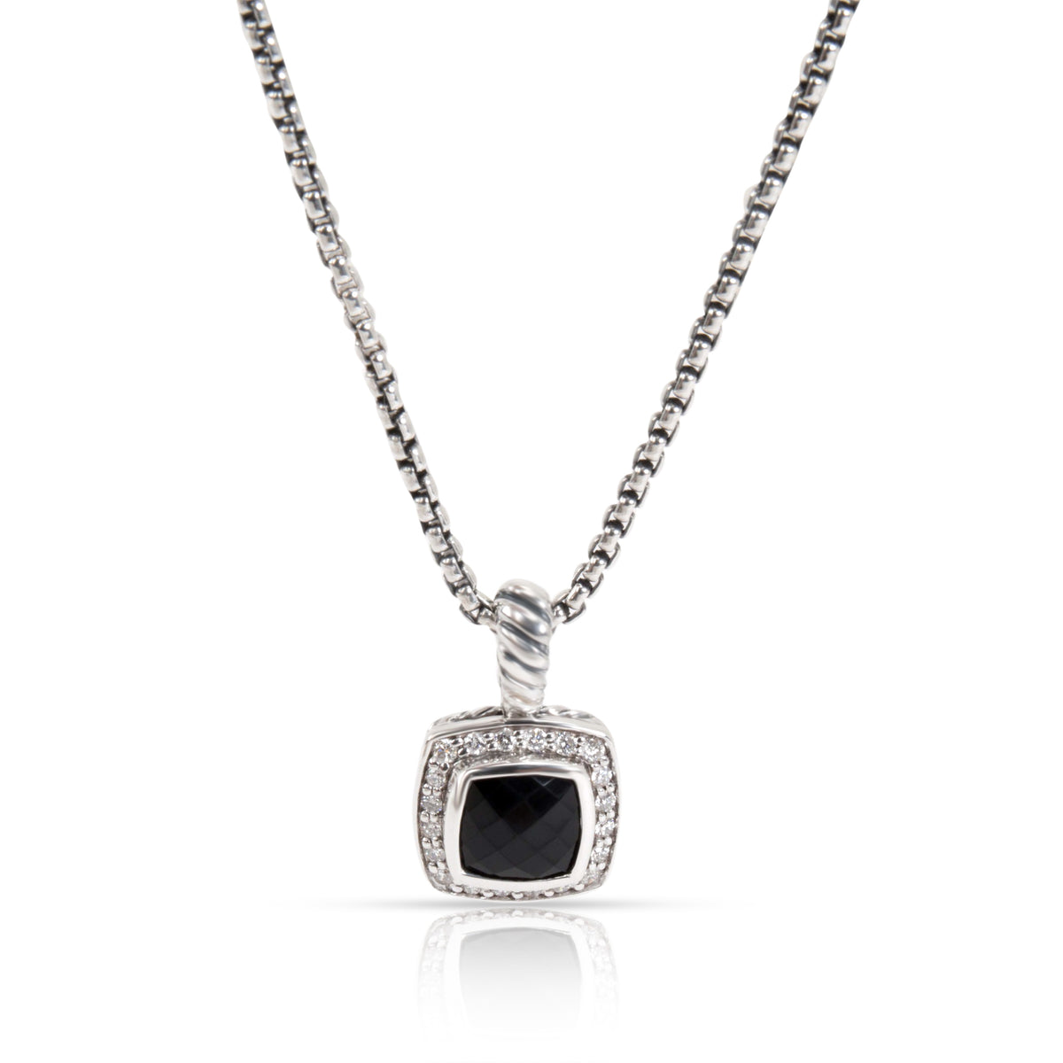 David Yurman Petite Albion Onyx Diamond Necklace in  Sterling Silver 0.18 CTW
