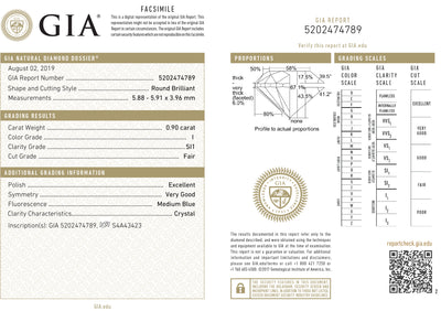 GIA Certified 0.90 Ct Round cut I SI1 Loose Diamond