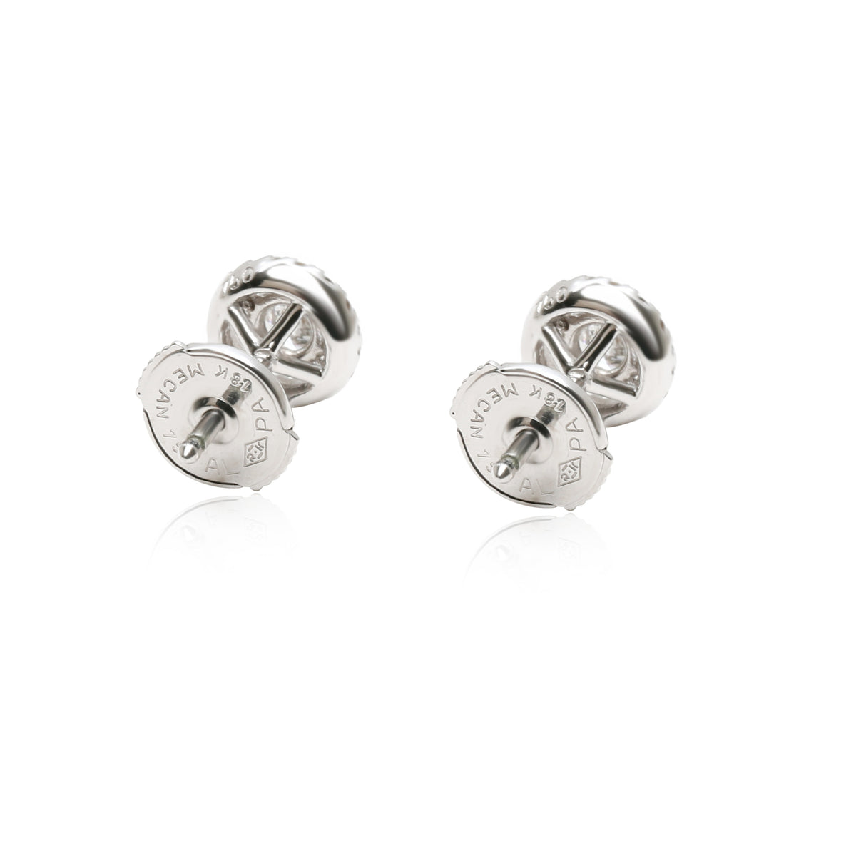 Diamond Halo Stud Earrings in 18K White Gold (0.32 CTW GH/SI1)