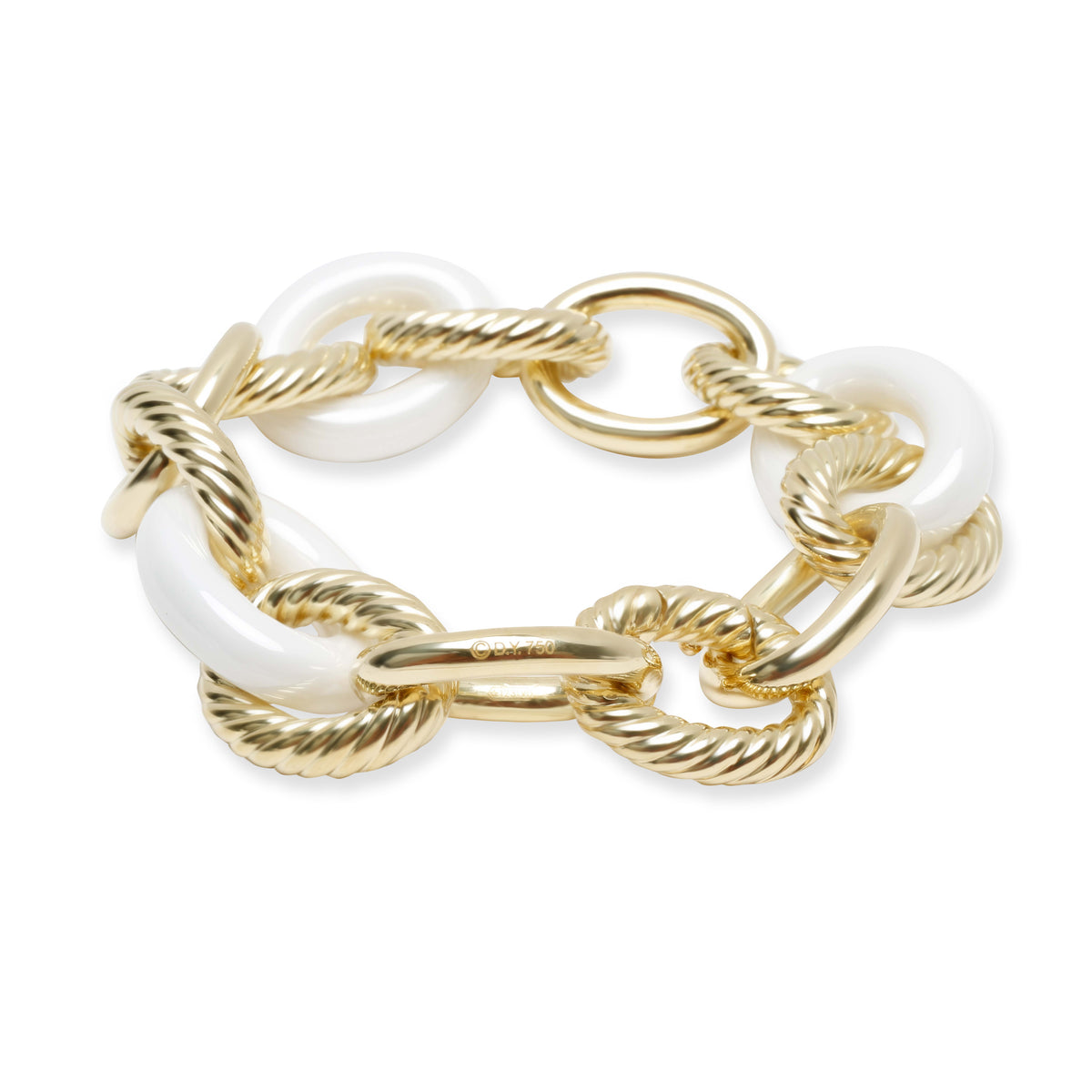 David Yurman Ceramic Extra Large Oval Link Chain Bracelet in 18K Yellow Gold