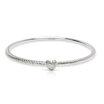 David Yurman Pave Diamond Heart Cable Bracelet in  Sterling Silver 0.1 CTW