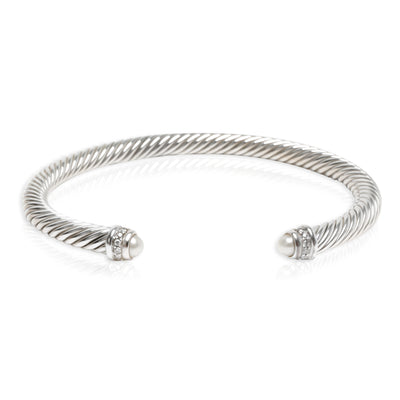 David Yurman Cable Diamond & Pearl 4mm Bangle in Sterling Silver (0.07 CTW)