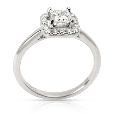 Halo Princess Cut Diamond Engagement Ring in Platinum (0.35 ct F/SI1)