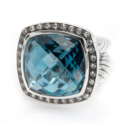 David Yurman Albion Blue Topaz & Diamond Ring in Sterling Silver
