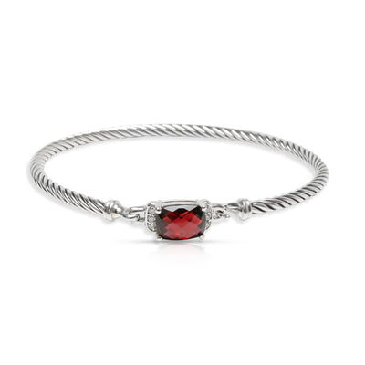 David Yurman Wheaton Garnet & Diamond Bangle in Sterling Silver 0.06 CTW