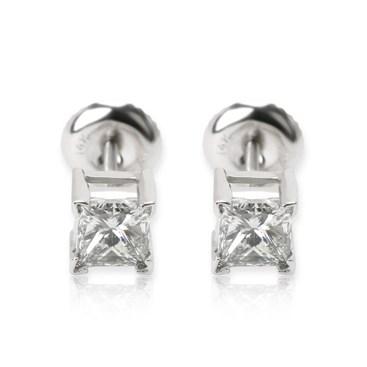 IGI Certified Diamond Princess Cut Stud Earrings in 14K White Gold (1.02 CTW)