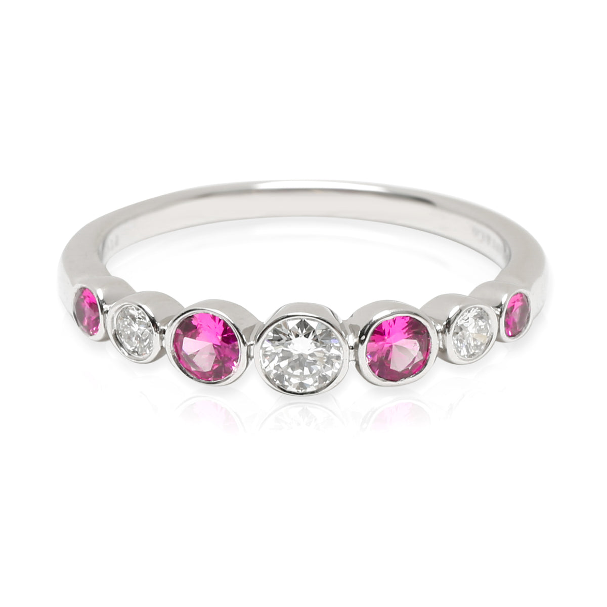 Tiffany & Co. Jazz Ring with Diamond & Pink Sapphires in  Platinum 0.25 CTW