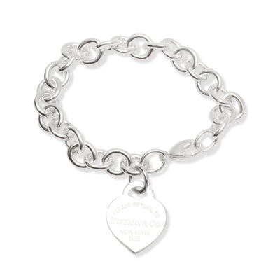 Tiffany & Co. Blue Enamel Heart Tag Bracelet in  Sterling Silver