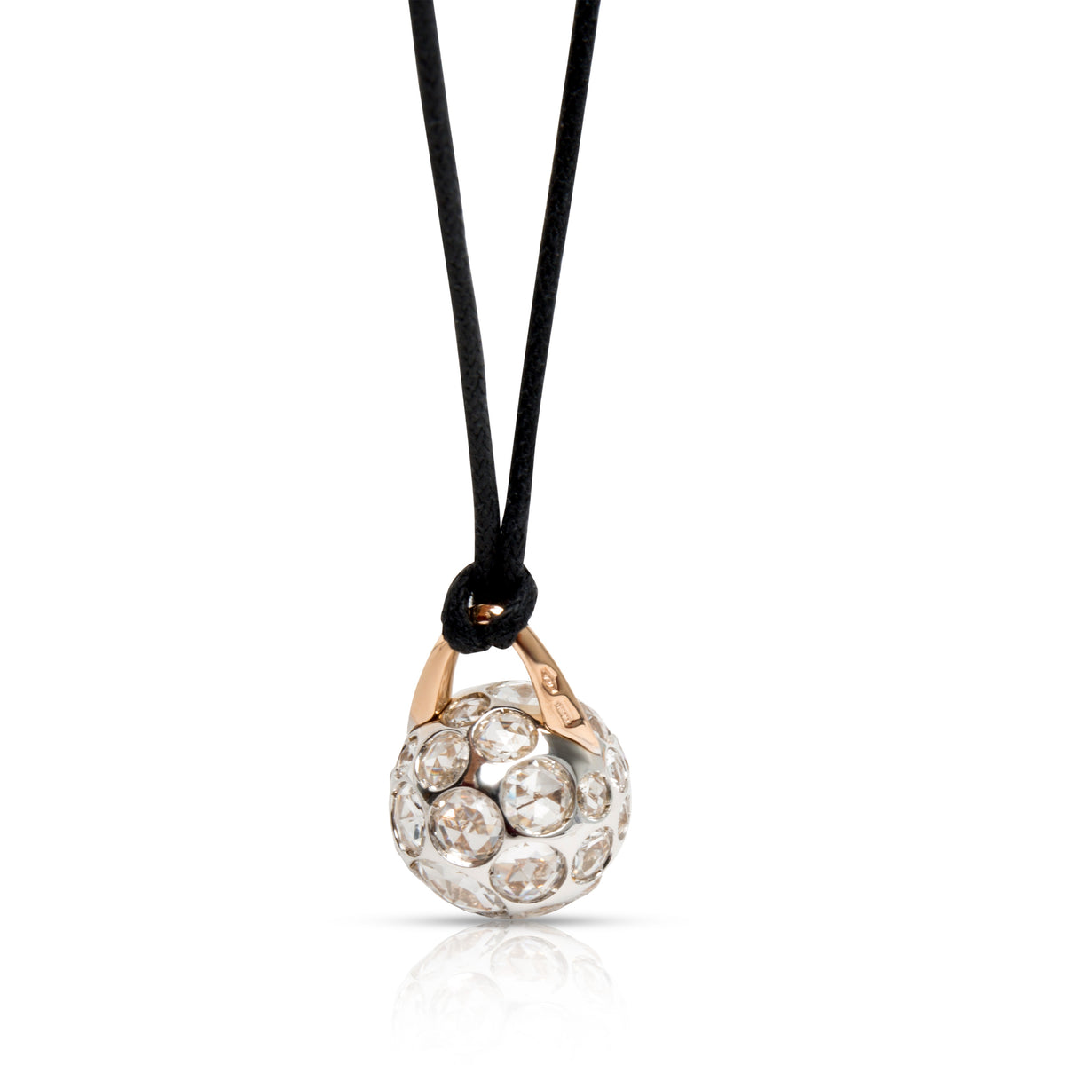 Pomellato Harem Ball Rock Crystal Pendant on a Black Cord in 18KT 2 Tone Gold
