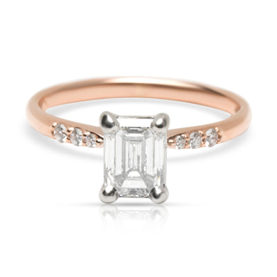 Blue Nile Emerald Cut Diamond Engagement Ring in 14K Rose Gold (0.93 ct F/VS1)