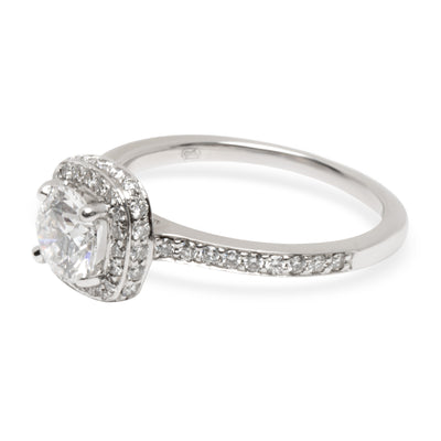 GIA Blue Nile Diamond Halo Engagement Ring in 18K White Gold (0.80 ct D/VVS1)