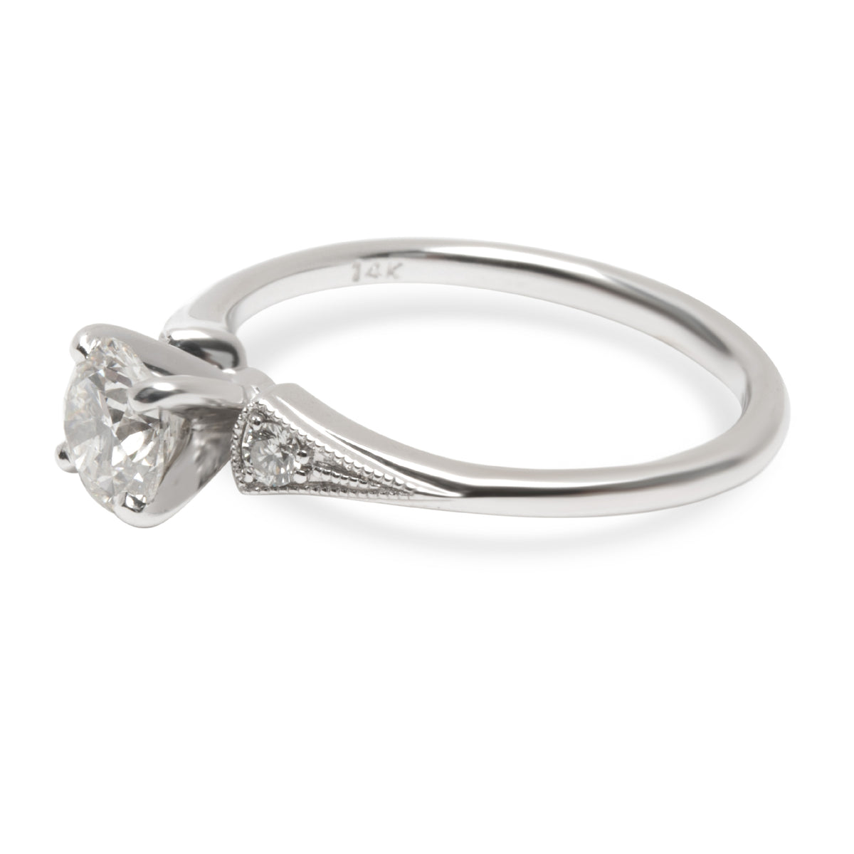 GIA Certified Diamond Milgrain Engagement Ring in 14K White Gold (0.70 ct I/VS1)