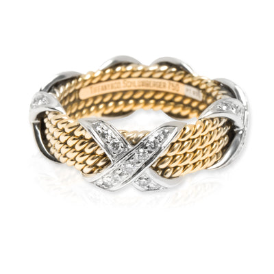 Tiffany & Co. Schlumberger Rope Diamond X Ring in 18KT Gold & Platinum 0.54 ctw