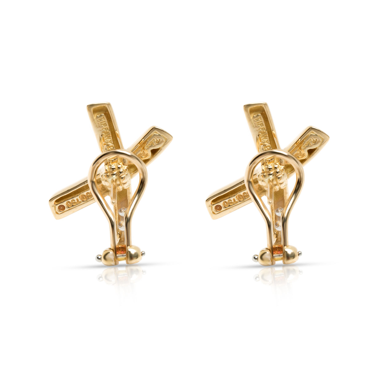 Tiffany & Co. Paloma Picasso X Diamond Earrings in 18K Gold/Platinum 0.16 ctw