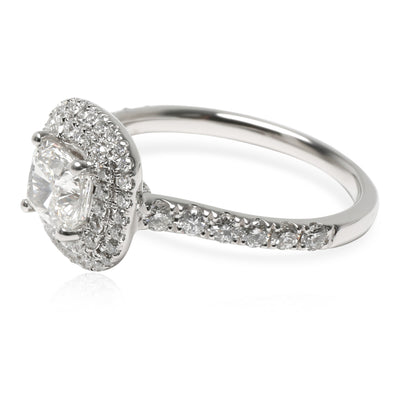 GIA Certified Double Halo Diamond Engagement Ring in  Platinum G VS1 1.5 CTW